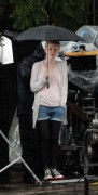 "Dakota Fanning - Set of ""Now is Good"" in her cute fake short haircut 4th august 7 HQ pics"